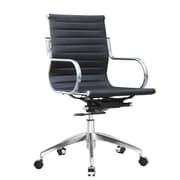 Fine Mod Imports Twist High-Back Leather Office Chair; Black