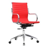 Fine Mod Imports Twist High-Back Leather Office Chair; Red