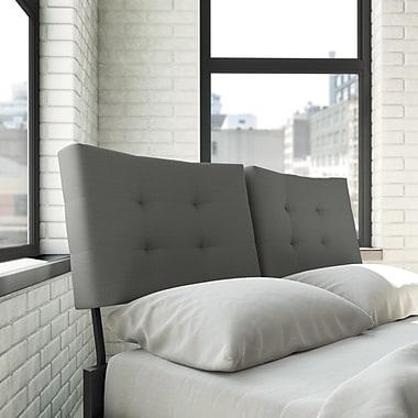 Amisco – Tête de lit rembourrée pour lit double 54 po Delaney, métal noir/gris clair (14352-54-TLC/25HPF4)