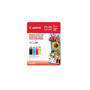 Canon PGI-250/CLI-251 CMY Black/Colour Ink Cartridge Club Pack, 4/Pack, (6497B009)
