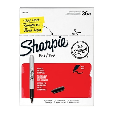 Sharpie® Fine Permanent Markers, Black, 36/Pack