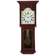 Bedford Mantel Clock with Pendulum and Chime, Dark Redwood Oak, Wall (bed-7247)