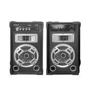 Pyle Disco Jam Dual Bookshelf Stereo Speaker System, 110/220 V (psufm826led)