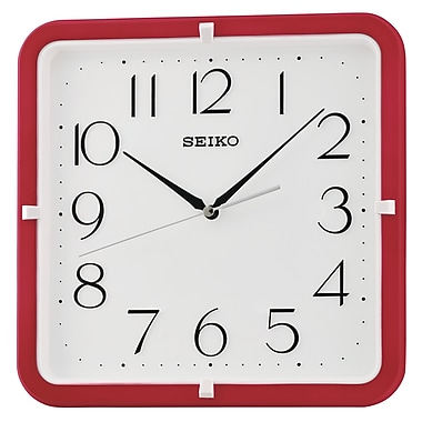 Seiko QXA653R Square Wall Clock, Red
