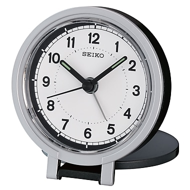 Seiko QHT011K Travel Alarm Clock, Black