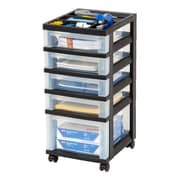 Staples Plastic 5-Drawer Organizer, Black and Clear (116865)