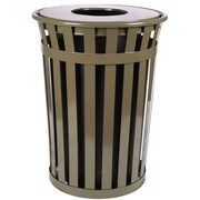 Witt Oakley 50-Gal Slatted Metal Waste Receptacle with Flat Top; Brown
