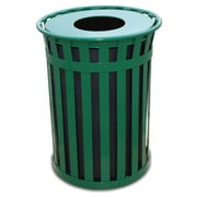 Witt Oakley 50-Gal Slatted Metal Waste Receptacle with Flat Top; Green