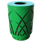 Witt Covington 40-Gal Sawgrass Laser Cut Metal Waste Receptacle with Flat Top - Round Hole; Black