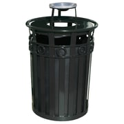 Witt Oakley 36-Gal Series Round Ring Receptacle with Ash Urn Lid; Black