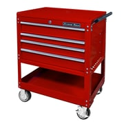 Extreme Tools Deluxe 32.25'' Wide 4 Drawer Service Cart; Red
