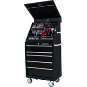 Extreme Tools 30.5'' Wide 5 Drawer Portable Workstation and Roller Cabinet Combination Set; Black