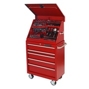 Extreme Tools 30.5'' Wide 5 Drawer Portable Workstation and Roller Cabinet Combination Set; Red
