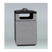 Allied Molded Products Boulevard 15-Gal Square 4 Side Opening Trash Bin; Gray
