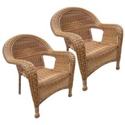 Oakland Living Resin Wicker Arm Chair (Set of 2); Honey