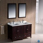 Fresca Oxford 48'' Double Traditional Bathroom Vanity Set w/ Mirror; Mahogany