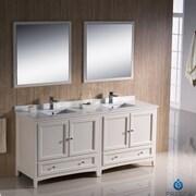 Fresca Oxford 72'' Double Traditional Bathroom Vanity Set w/ Mirrors; Antique White