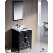 Fresca Oxford 24'' Single Traditional Bathroom Vanity Set w/ Mirror; Espresso