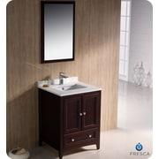 Fresca Oxford 24'' Single Traditional Bathroom Vanity Set w/ Mirror; Mahogany