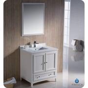 Fresca Oxford 30'' Single Traditional Bathroom Vanity Set w/ Mirror; Antique White