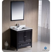 Fresca Oxford 30'' Single Traditional Bathroom Vanity Set w/ Mirror; Espresso