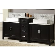 Direct Vanity Sink Horizon 84'' Double Premium Bathroom Vanity Set with Mirror; Ebony