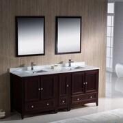 Fresca Oxford 72'' Double Traditional Bathroom Vanity Set w/ Mirrors; Mahogany