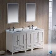 Fresca Oxford 60'' Double Traditional Bathroom Vanity Set w/ Mirror; Antique White