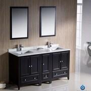 Fresca Oxford 60'' Double Traditional Bathroom Vanity Set w/ Mirror; Espresso