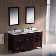 Fresca Oxford 60'' Double Traditional Bathroom Vanity Set w/ Mirror; Mahogany