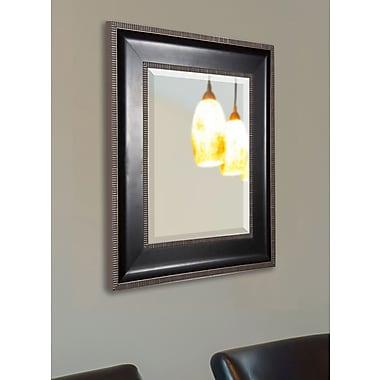 Rayne Mirrors Black w/ Silver Cage Trim Wall Mirror; 28.25'' H x 24.25'' W x 2'' D