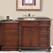 Silkroad Exclusive Victoria 56'' Single Bathroom Vanity Set; Sink on the Left