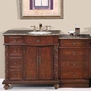 Silkroad Exclusive Victoria 56'' Single Bathroom Vanity Set; Sink on the Right