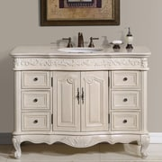 Silkroad Exclusive Ella 48'' Single Bathroom Vanity Set; Cream Marfil Marble Stone