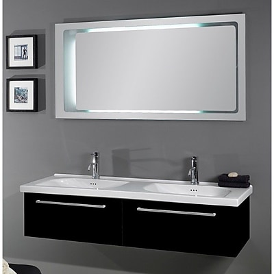 Iotti by Nameeks Fly 57'' Double Bathroom Vanity Set with Mirror; Glossy Black