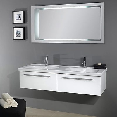 Iotti by Nameeks Fly 57'' Double Bathroom Vanity Set with Mirror; Glossy White