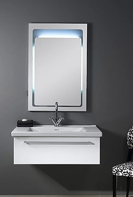 Iotti by Nameeks Fly 36'' Single Bathroom Vanity Set with Mirror; Glossy White
