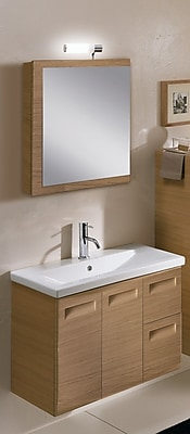 Iotti by Nameeks Integral 32'' Single Wall Mounted Bathroom Vanity Set with Mirror; Glossy White