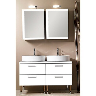 Iotti by Nameeks Aurora 45'' Double Bathroom Vanity Set with Mirror; Glossy White