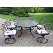 Oakland Living Tuscany Stone Art Swivel Chair Dining Set