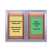 Ghent Concealed Light Bulletin Board,4' x 3'