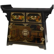 Oriental Furniture Lacquer Village Life Altar Cabinet; Antique Black Lacquer