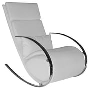 Whiteline Imports Chloe Rocking Chair and Ottoman; White
