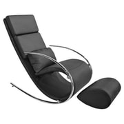 Whiteline Imports Chloe Rocking Chair and Ottoman; Black