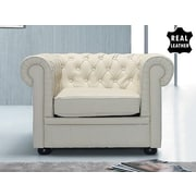 Beliani Chesterfield Leather Arm Chair; Beige