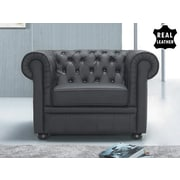 Beliani Chesterfield Leather Arm Chair; Black