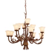 Kalco Ponderosa 12 Light Shaded Chandelier; Champagne Small Oval Glass