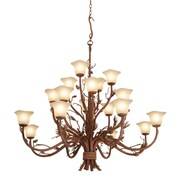 Kalco Ponderosa 20 Light Shaded Chandelier; Champagne Small Oval Glass