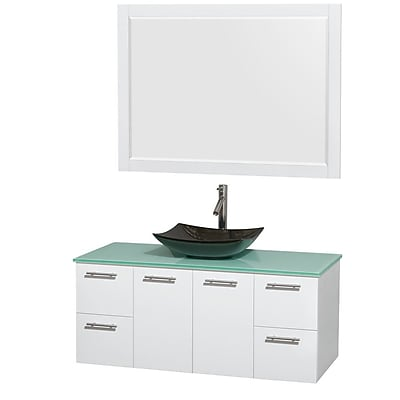 Wyndham Collection Amare 48'' Single Bathroom Vanity Set with Mirror; Glossy White