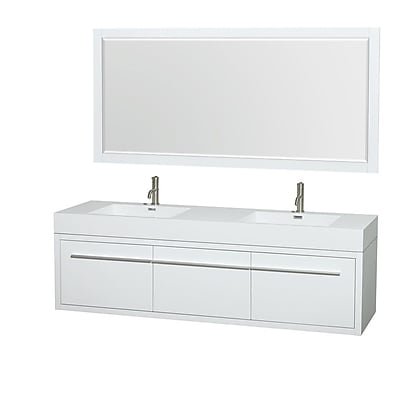 Wyndham Collection Axa 72'' Double Bathroom Vanity Set with Mirror; Glossy White